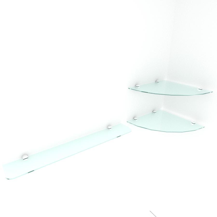 kit com 3 Prateleira de vidro temperado para escritorio 1 de 30 cm para canto e 2 de 60 cm reta