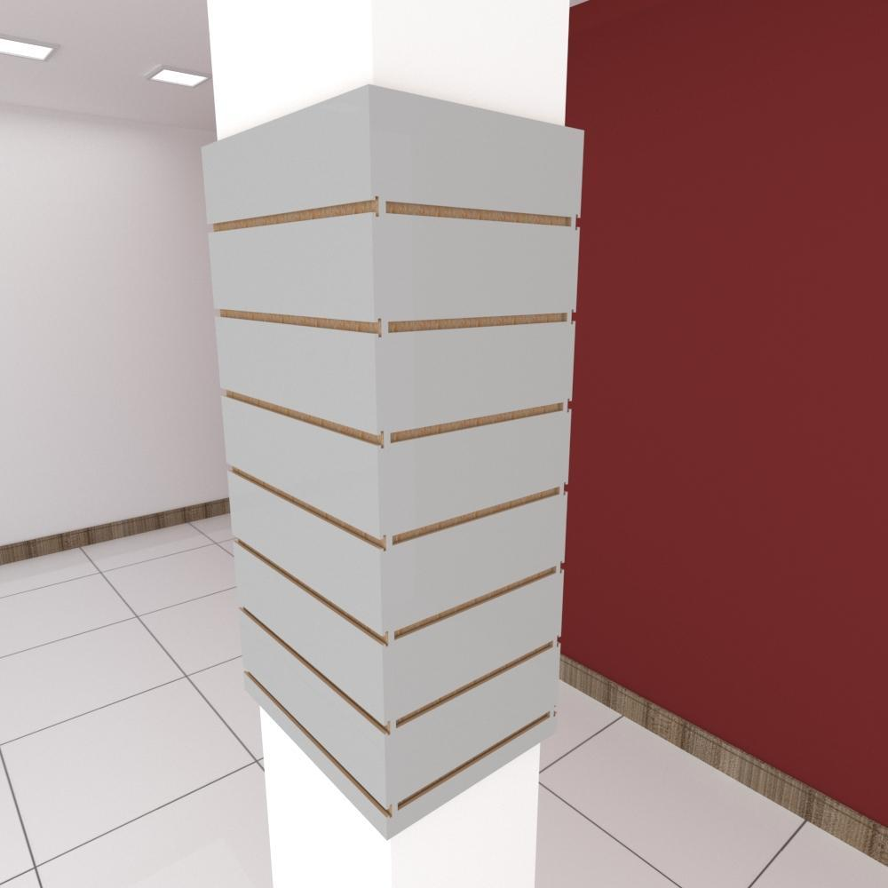 Kit 4 Painel canaletado para pilar cinza cristal 2 peças 44(L)x90(A)cm + 2 peças 30(L)x90(A)cm