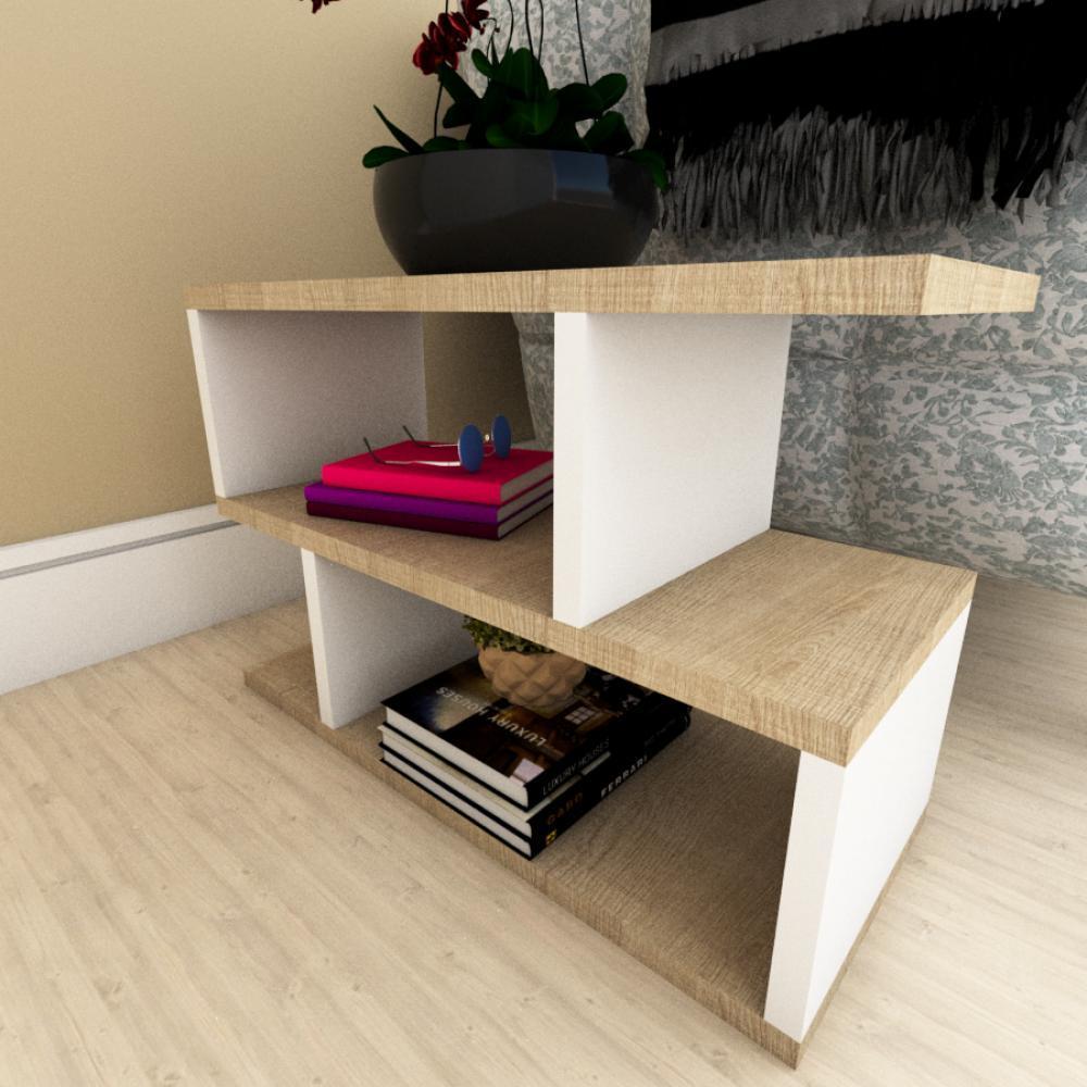 Mesa Lateral Sofá moderna amadeirado claro e branco