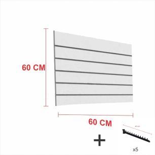 Expositor canaletado cinza alt 60 cm comp 60 cm mais 5 ganchos rt 40 cm para roupas