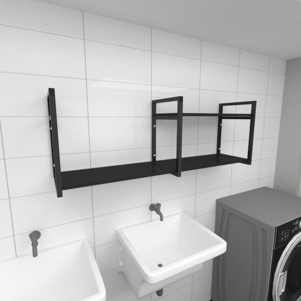 Prateleira industrial para lavanderia aço cor preto prateleiras 30 cm cor preto modelo ind07plav