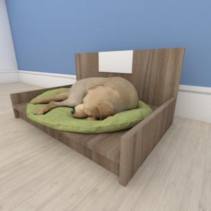 Mesa de cabeceira camapet para cachorro em mdf Amadeirado