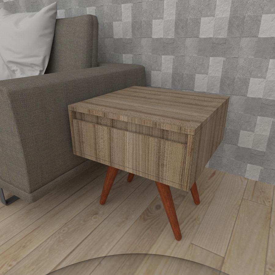 Mesa lateral com gaveta em mdf amadeirado escuro com 4 pés inclinados em madeira maciça cor mogno