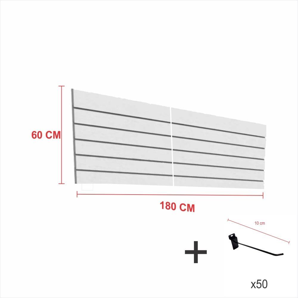 Kit Painel canaletado cinza alt 60 cm comp 180 cm mais 50 ganchos 10 cm