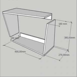 Mesa lateral, suspenso, nichos modernos, em mdf Branco
