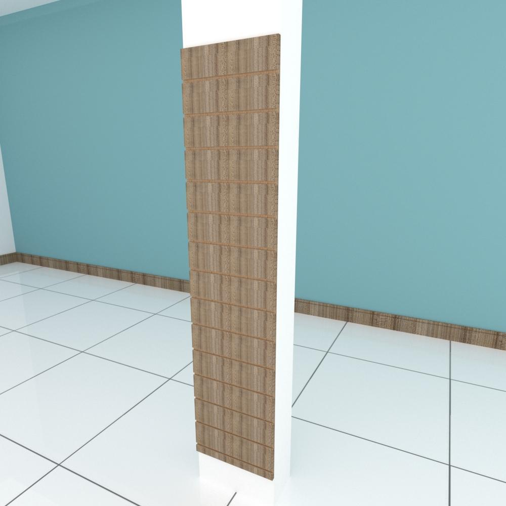 Painel canaletado para pilar amadeirado escuro 1 peça 40(L)x180(A)cm