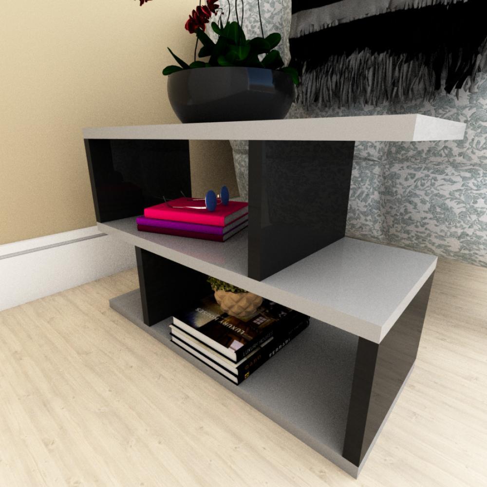 Kit com 2 Mesa de cabeceira cinza com preto