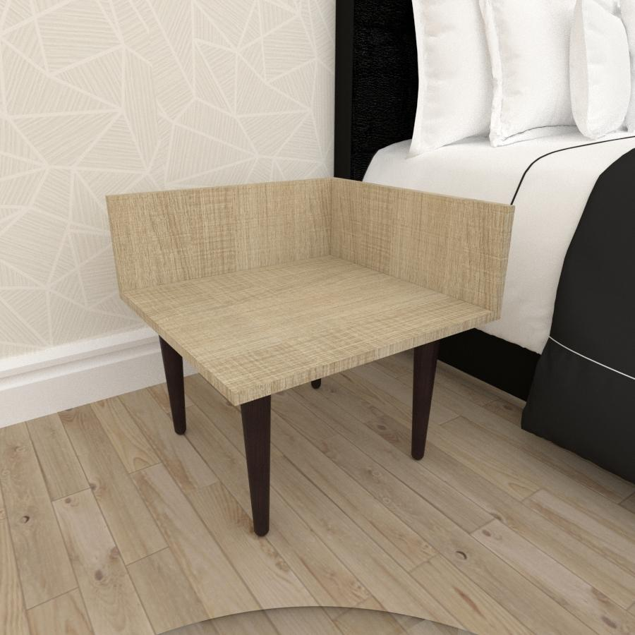 Mesa de Cabeceira simples em mdf amadeirado claro com 4 pés retos em madeira maciça cor tabaco