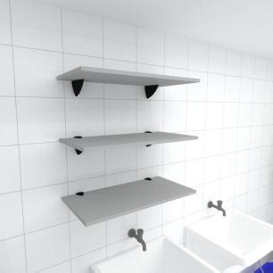 Kit 3 prateleiras para lavanderia em MDF suporte tucano cinza 60x30cm modelo pratlvc06