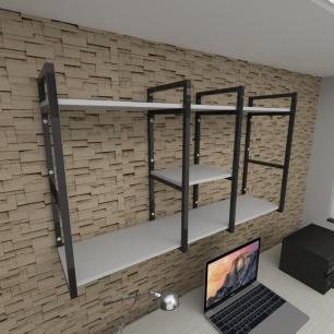 Prateleira industrial para escritório aço cor preto prateleiras 30 cm cor cinza modelo ind18ces