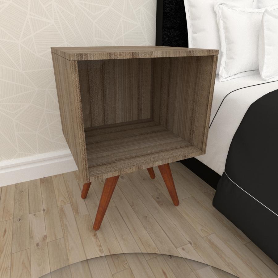 Mesa de Cabeceira moderna em mdf amadeirado escuro com 4 pés inclinados em madeira maciça cor mogno