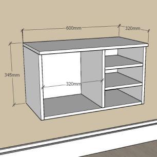 Mesa de Cabeceira minimalista com nichos em mdf Cinza