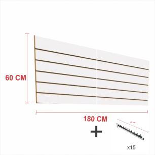 Kit Painel canaletado branco alt 60 cm comp 180 cm mais 15 ganchos rt 40 cm para roupas