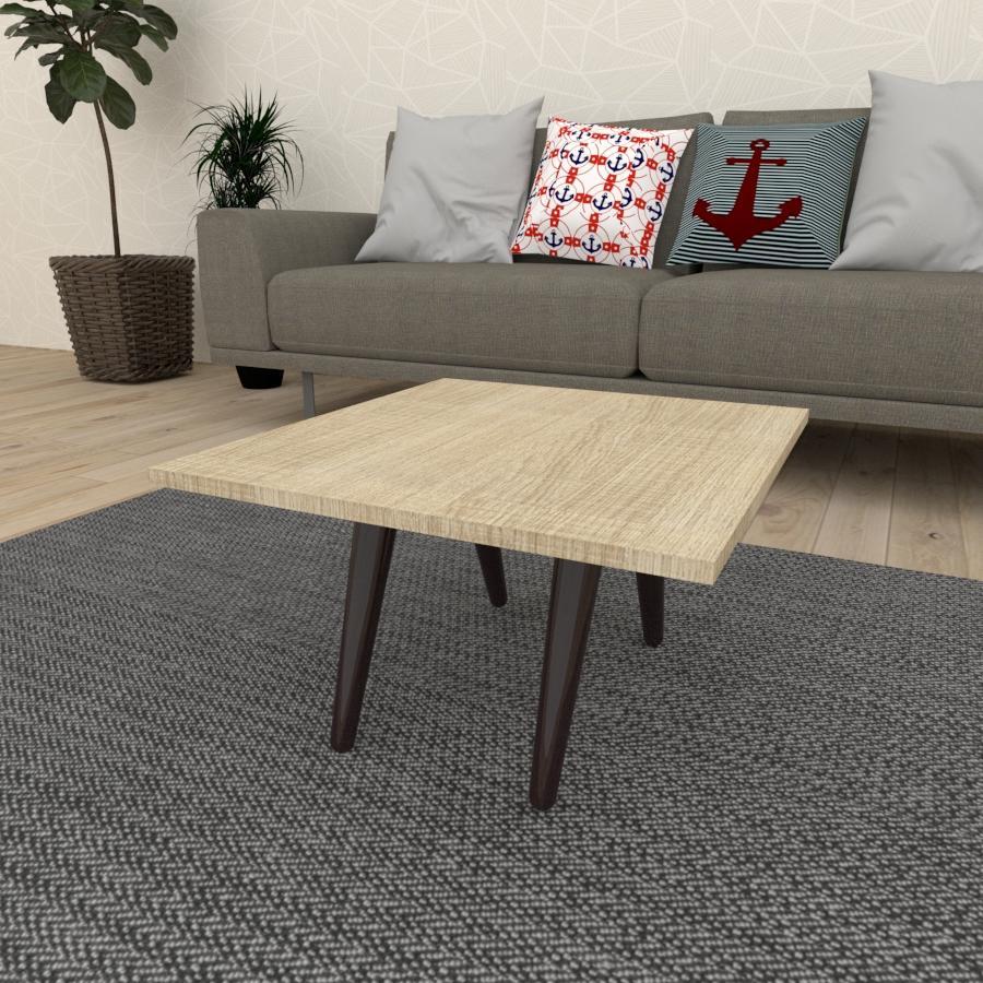 Mesa de Centro quadrada em mdf amadeirado claro com 4 pés inclinados em madeira maciça cor tabaco