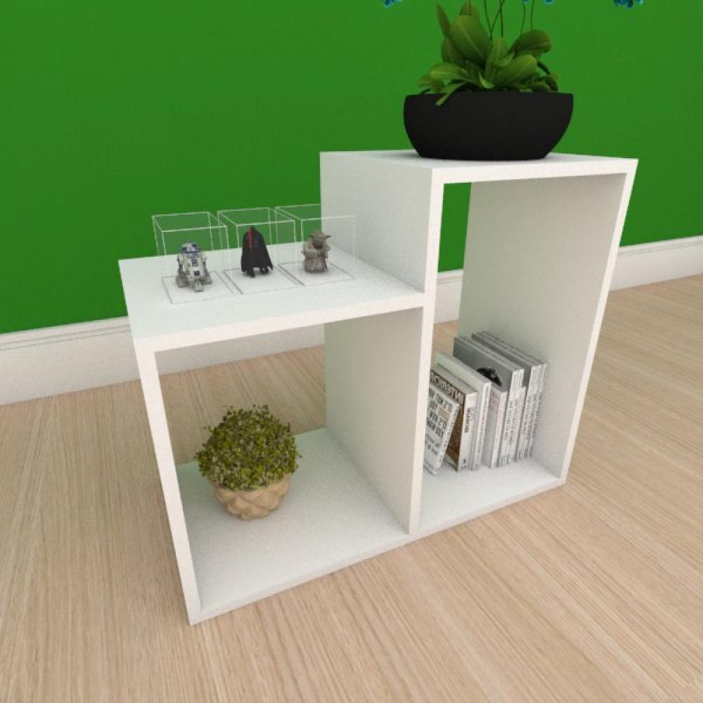Estante de Livros simples com 2 nicho em mdf branco