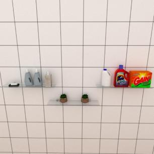 Kit com tres Prateleira para lavanderia 50 cm vidro temperado