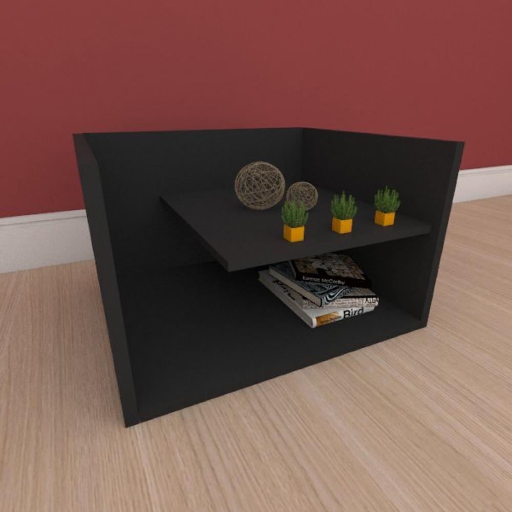 Mesa Lateral com prateleiras em mdf preto