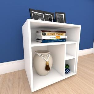 Estante para livros formato S minimalista em mdf Branco
