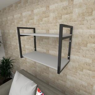 Prateleira industrial para Sala aço cor preto prateleiras 30 cm cor cinza modelo ind01csl