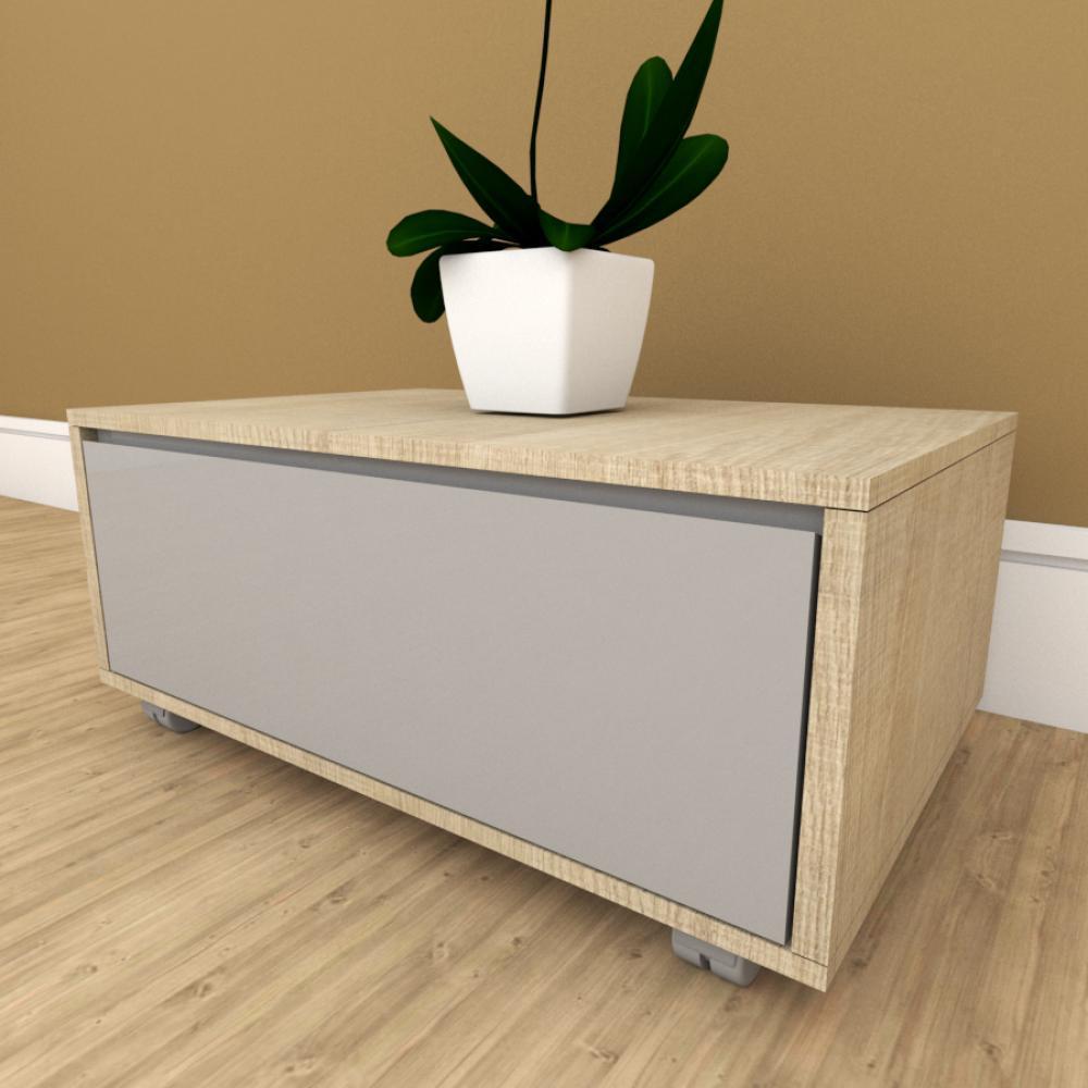 Mesa de cabeceira branco com amadeirado claro