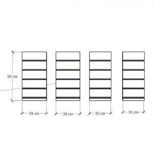 Kit 4 Painel canaletado para pilar amadeirado claro 2 peças 34(L)x60(A) cm + 2 peças 30(L)x60(A) cm