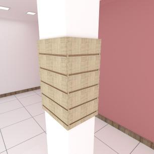 Kit 4 Painel canaletado para pilar amadeirado claro 2 peças 44(L)x60(A)cm + 2 peças 30(L)x60(A)cm
