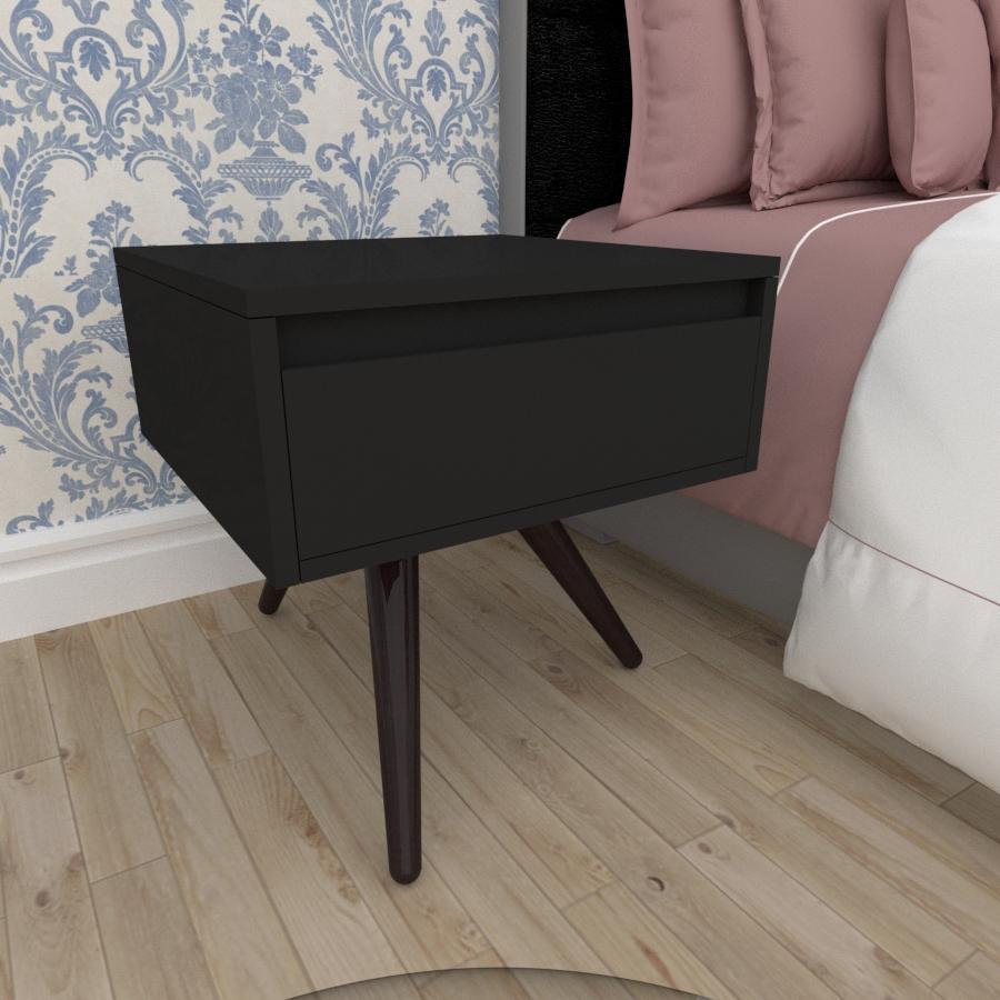 Mesa de Cabeceira com gaveta em mdf preto com 3 pés inclinados em madeira maciça cor tabaco
