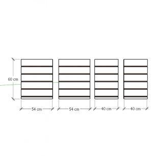 Kit 4 Painel canaletado para pilar branco 2 peças 54(L)x60(A)cm + 2 peças 40(L)x60(A)cm