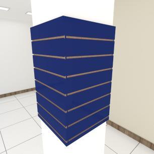 Kit 4 Painel canaletado para pilar azul escuro 2 peças 54(L)x90(A) cm + 2 peças 50(L)x90(A) cm