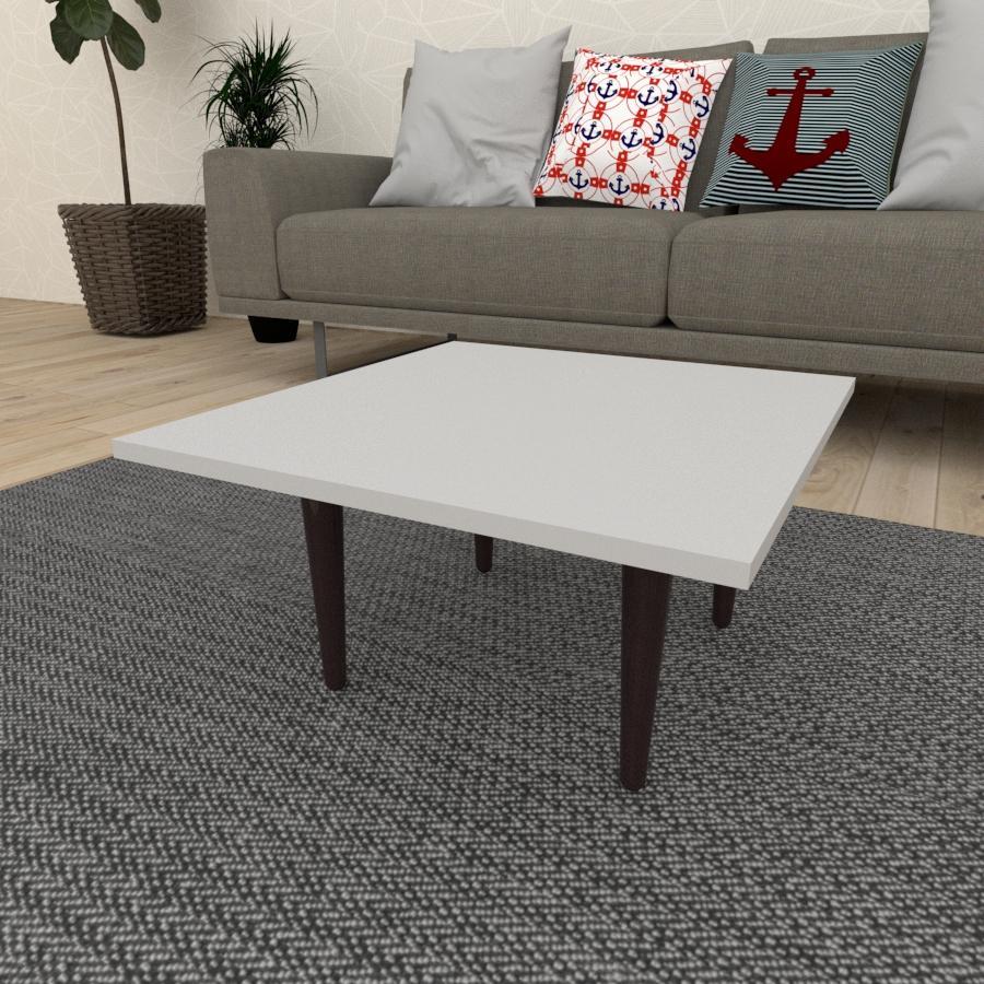 Mesa de Centro quadrada em mdf cinza com 4 pés retos em madeira maciça cor tabaco