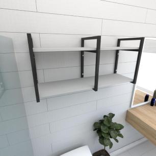 Prateleira industrial para banheiro aço cor preto prateleiras 30cm cor cinza modelo ind22cb