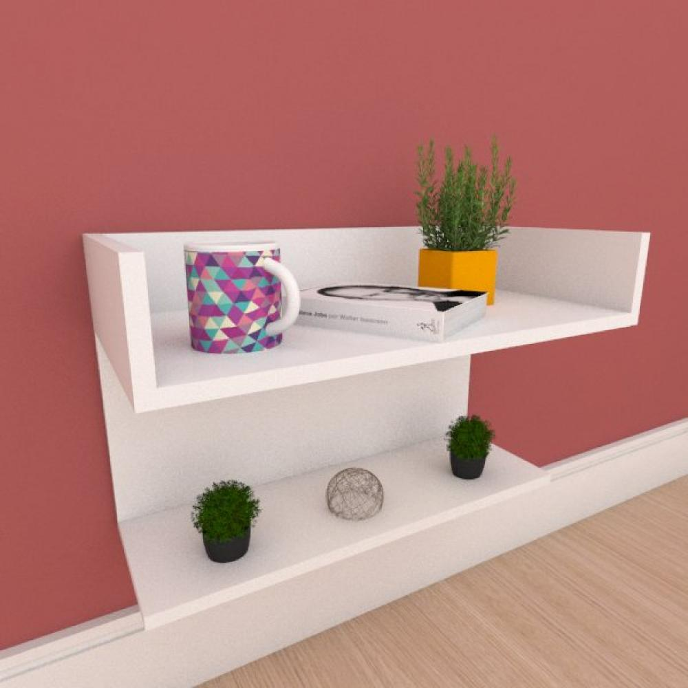 Mesa de cabeceira suspensa com prateleiras em mdf branco