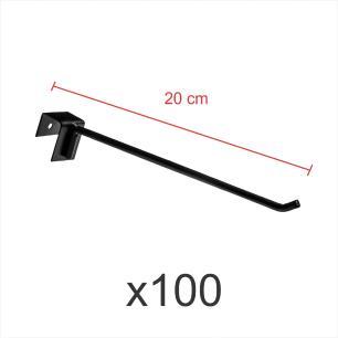 kit para expositor 100 ganchos 4mm preto de 20 cm para gondola para porta gancheira 20x20 e 20x40