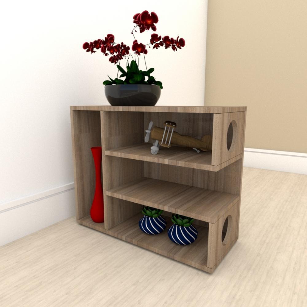Mesa Lateral para sofá slim com 3 niveis em mdf Amadeirado