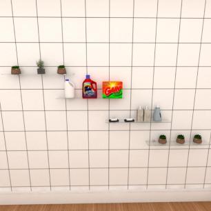 Kit com quatro Prateleira para lavanderia 60 cm vidro temperado