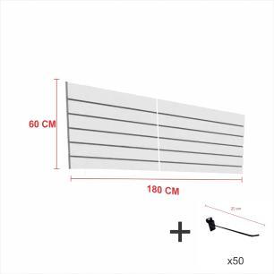 Expositor canaletado cinza alt 60 cm comp 180 cm mais 50 ganchos 20 cm