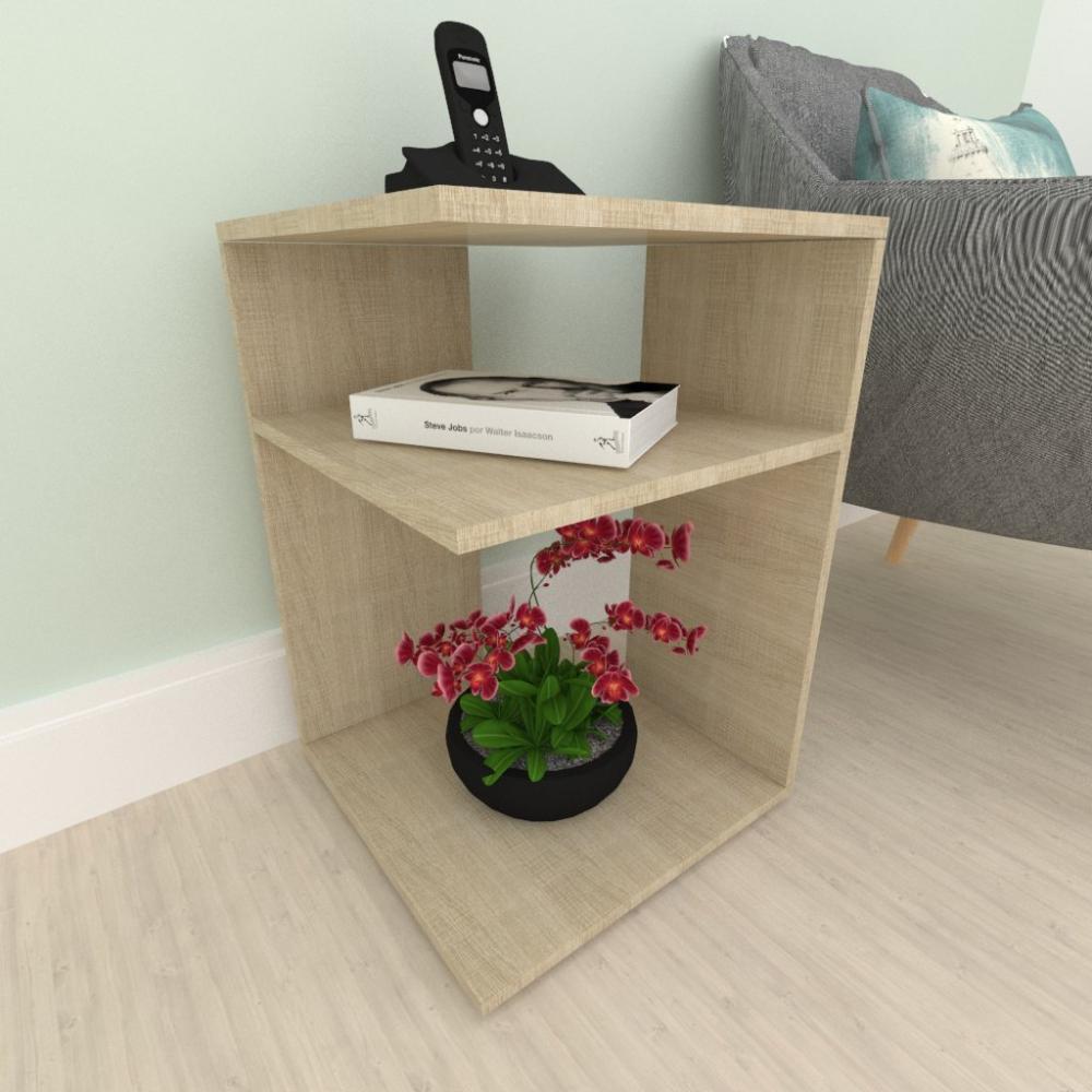 Mini estante para escritório, em mdf Amadeirado claro