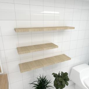 Kit 3 prateleiras banheiro MDF sup. Inivisivel amadeirado claro 1 60x20cm 2 90x20cm mod pratbnamc34