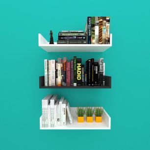 Estante de Livros nichos modernos, em mdf branco com preto