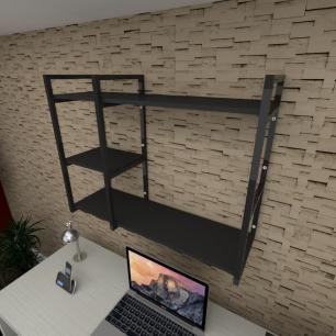 Prateleira industrial para escritório aço cor preto prateleiras 30cm cor preto modelo ind16pes