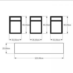 Aparador industrial aço cor preto mdf 30 cm cor amadeirado claro modelo ind06acapr