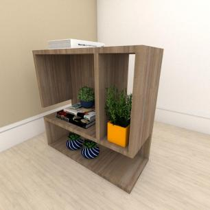 Mesa de Cabeceira minimalista com nicho em mdf Amadeirado