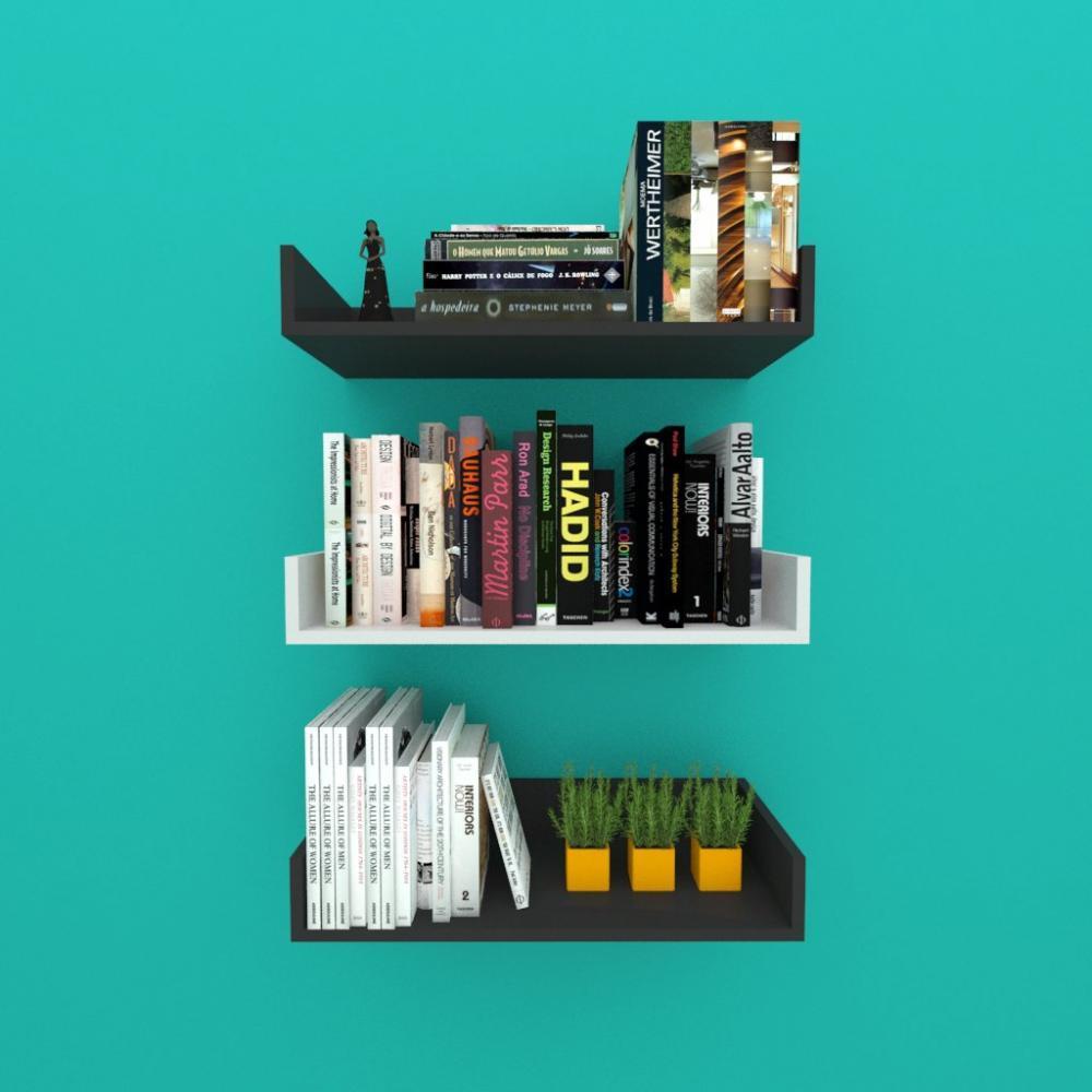 Estante de Livros nichos modernos, em mdf 50x20 preto com cinza