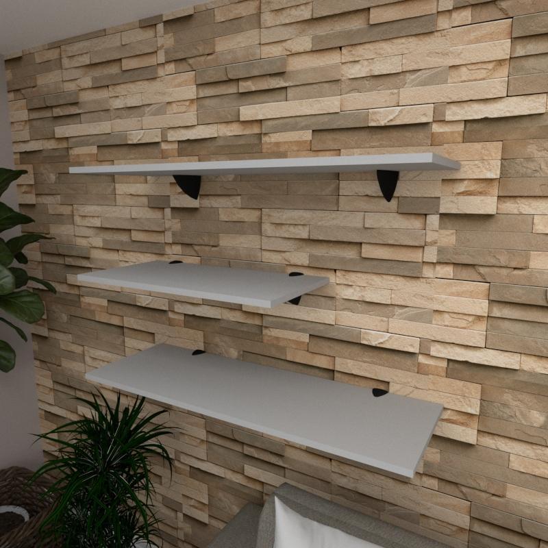 Kit 3 prateleiras sala em MDF suporte tucano cinza 1 60x30cm 2 90x30cm modelo pratslc13