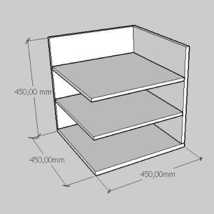 Mesa Lateral minimalista com prateleiras em mdf amadeirado