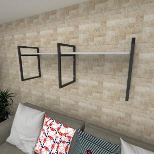 Prateleira industrial para Sala aço cor preto prateleiras 30 cm cor cinza modelo ind06csl