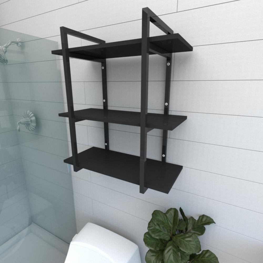 Prateleira industrial para banheiro aço cor preto prateleiras 30 cm cor preto modelo ind09pb