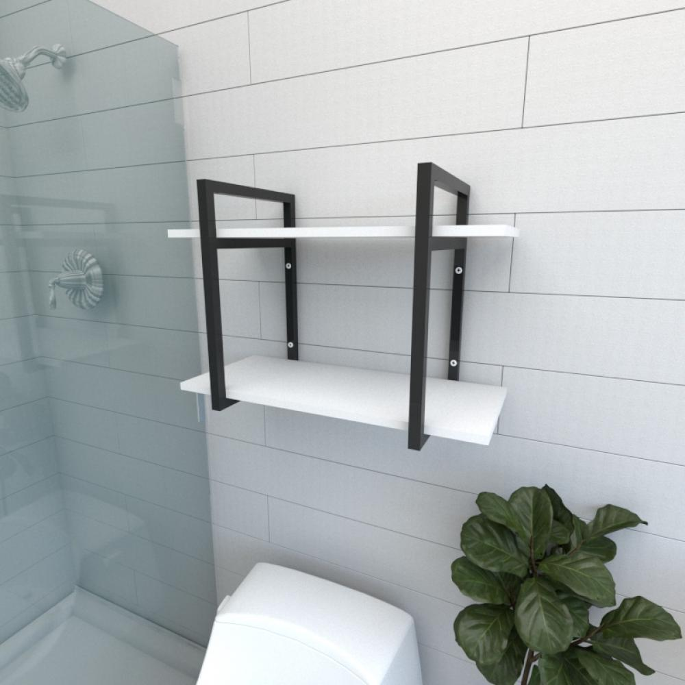 Prateleira industrial para banheiro aço cor preto prateleiras 30 cm cor branca modelo ind02bb