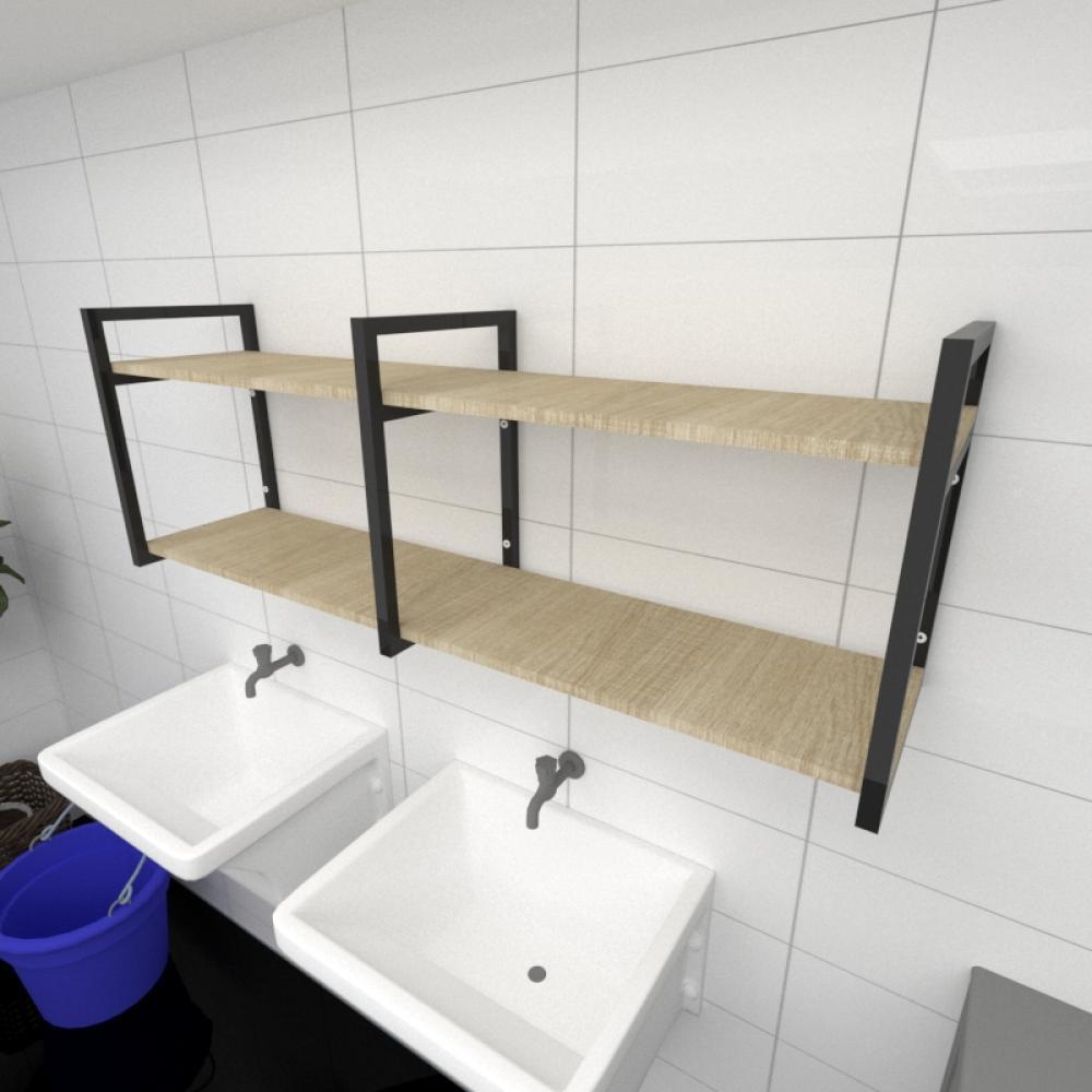 Prateleira industrial para lavanderia aço cor preto mdf 30cm cor amadeirado claro modelo ind04aclav