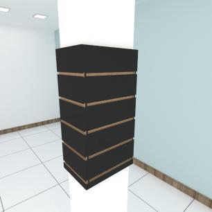 Kit 4 Painel canaletado para pilar preto 2 peças 24(L)x60(A)cm + 2 peças 30(L)x60(A)cm
